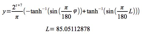 緯度→ピクセル座標計算式