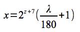 経度→ピクセル座標計算式