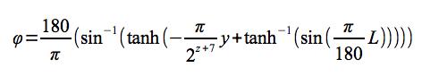ピクセル座標→緯度計算式