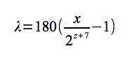 ピクセル座標→経度計算式