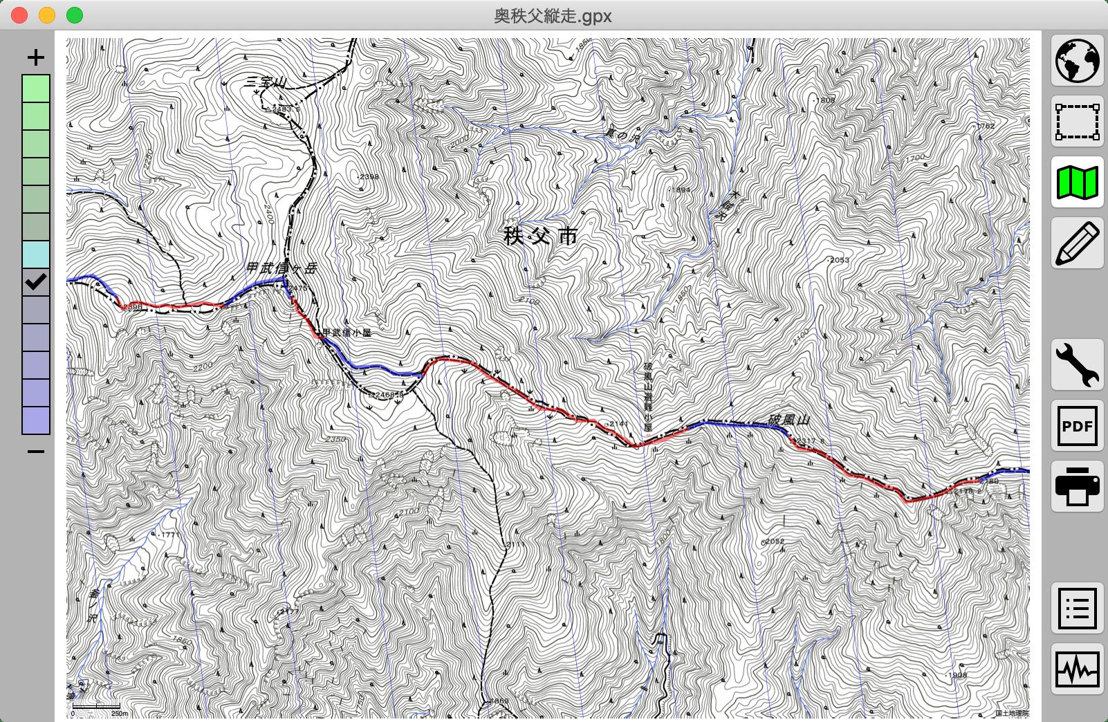TrailNote : 地形図を印刷する